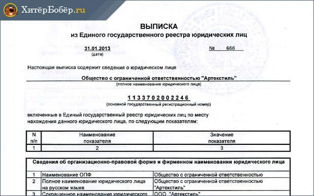 документы выписка егрип