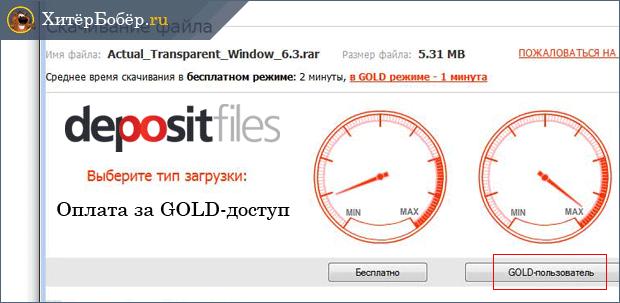 Скриншот видов доступа сайта Depositfiles