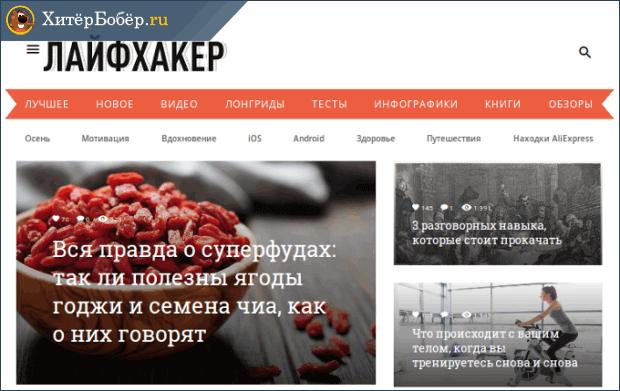 Популярный инфопортал Лайфхакер