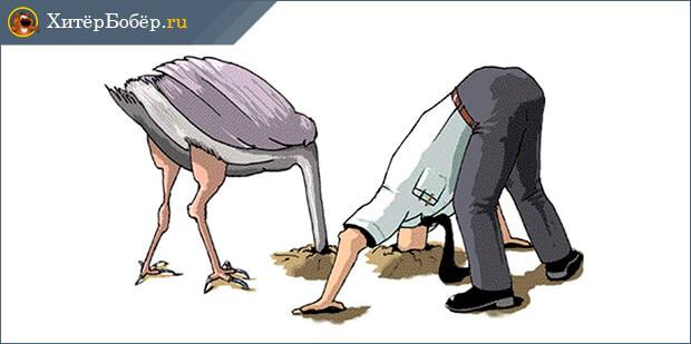 Человек и страус с головой в песке