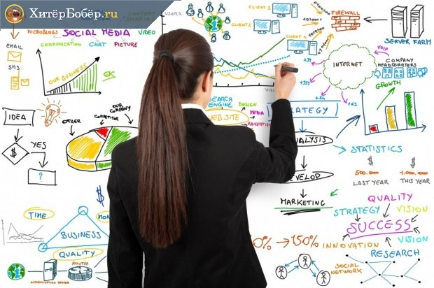 Женщина-маркетолог рисует