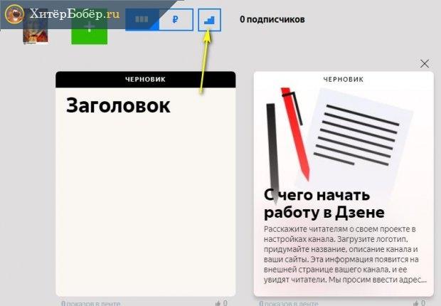 Кнопка доступа к статистике сервиса Яндекс Дзен