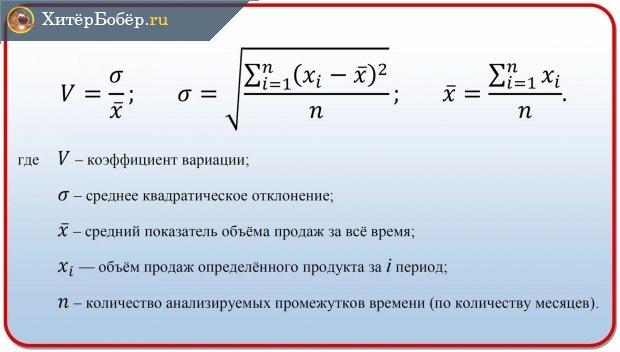 Формула коэффициента вариации