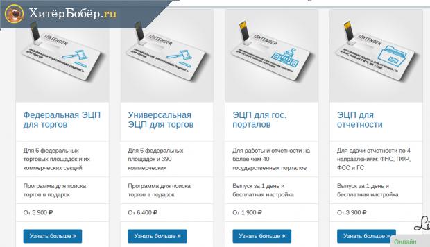 Скрин страницы одного из УЦ с видами и ценами ЭЦП для торгов