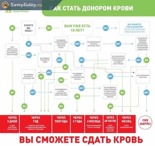 Схема, которая содержит основные требования к донорам