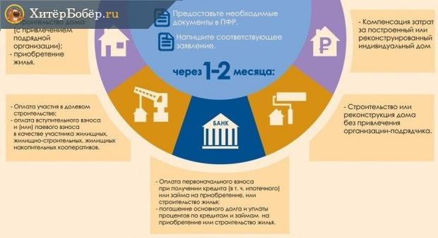 Инфографика о вариантах законного использования материнского капитала на улучшение жилищных условий