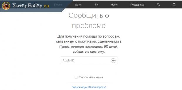Страница технической службы сайта Apple