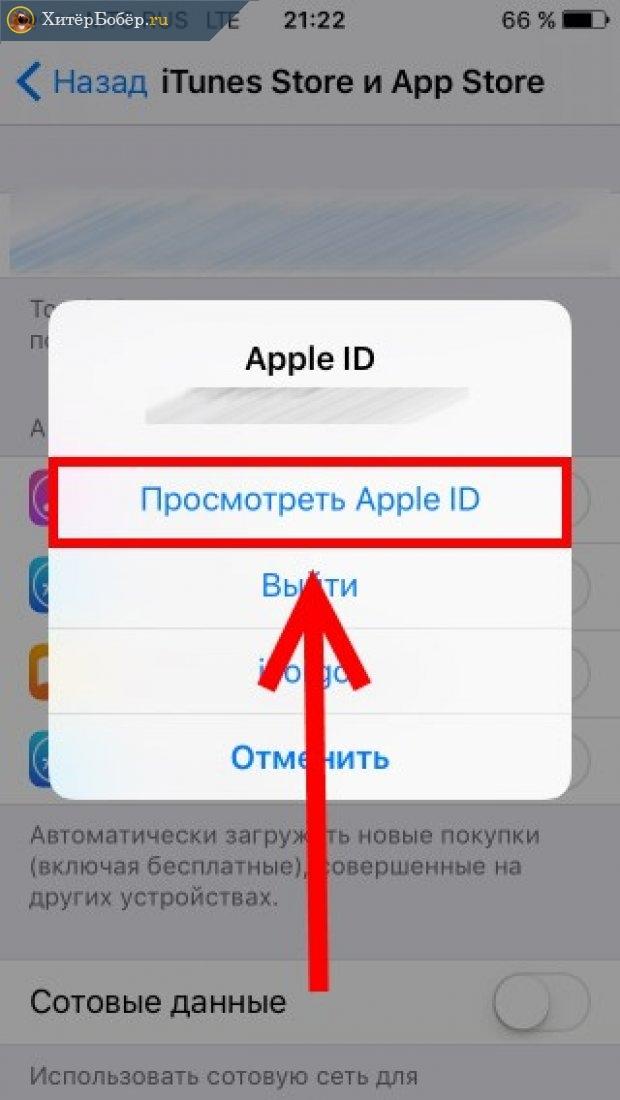 Экран смартфона, где написано «Просмотреть Apple ID»