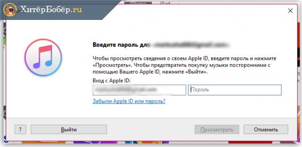 Страница iTunes, где написано «Введите пароль»