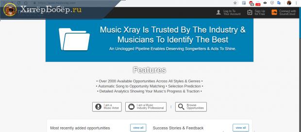 Скрин главной страницы сайта MusicXray
