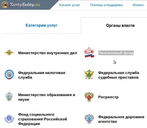 Категории услуг на сайте
