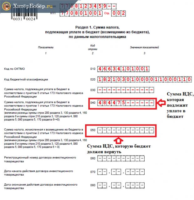 Образец налоговой декларации