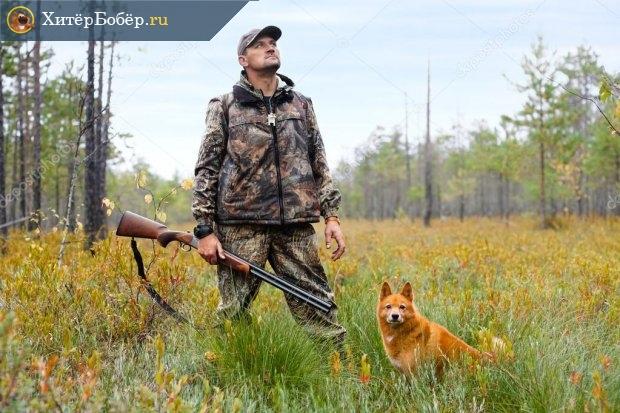 Мужчина с ружьём в руках и собака на поляне в лесу