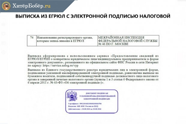 Пример выписки из ЕГРЮЛ с электронной подписью налоговой