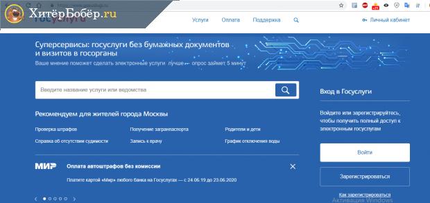 Скриншот стартовой страницы портала госуслуг