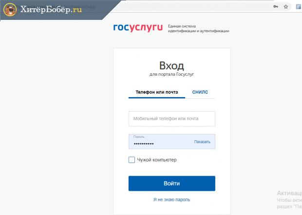 Скриншот страницы авторизации на госуслугах