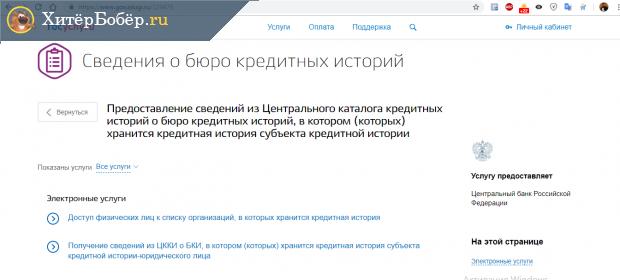 Скриншот результатов поиска на госуслугах по запросу «Узнать кредитную историю»