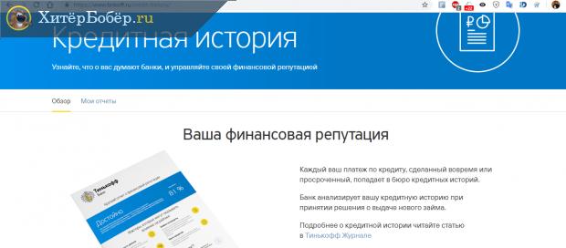 Скрин раздела о кредитной истории на сайте Тинькофф-банка