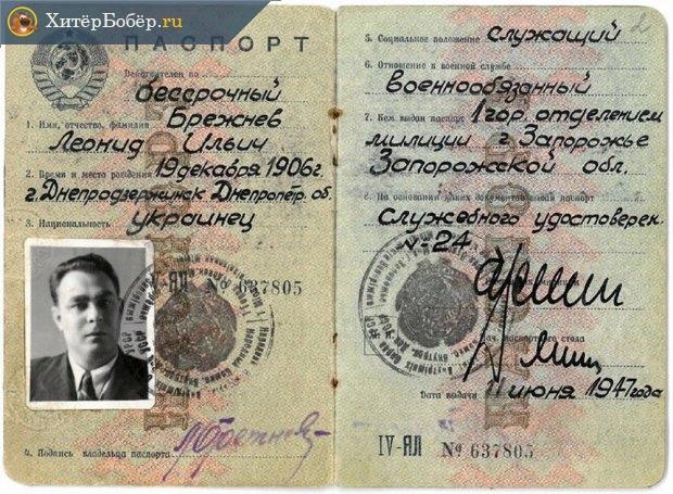 Паспорт Л. И. Брежнева