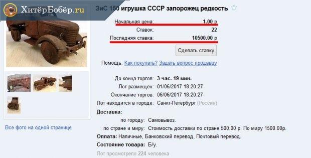 Скриншот страницы интернет-аукциона