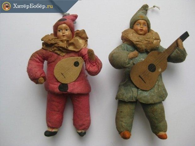 Ватные ёлочные игрушки «Клоун» и «Клоунесса»