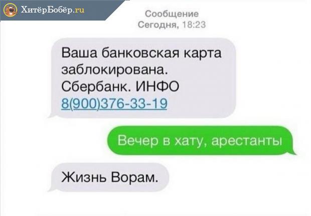 В ответ на какую СМС о блокировке нельзя сообщать свои данные (с юмористическими ответами)