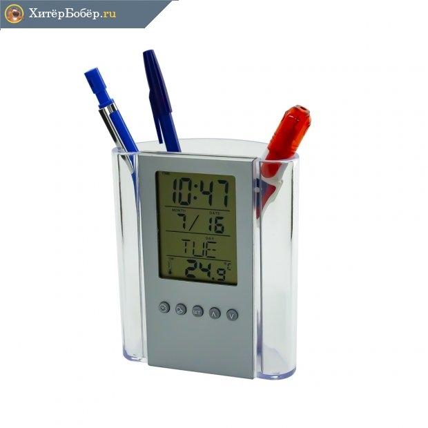 Электронные часы с подставкой для ручек